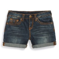 Girl's True Religion Brand Jeans 'Joey' Denim Rolled Hem Shorts,