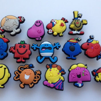 Like Mr Men & Little Miss Shoe Charms Cake Toppers Birthday Party Pack, Locker Magnets, Back Pack Zipper Pulls Kids gift (Set of 14)