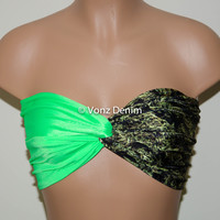 Marijuana Weed Leaf  & Neon Green Twisted Bandeau, Swimwear Bikini Top, Cannabis Twisted Top Bathing Suits, Spandex Bandeau Bikini