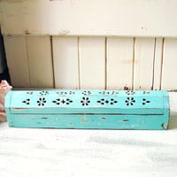 Aqua Mint Incense Box, Boho Rustic Distressed Turquoise Incense Burner Shabby Chic Incense Storage Box, Incense Coffin Box Gift Idea