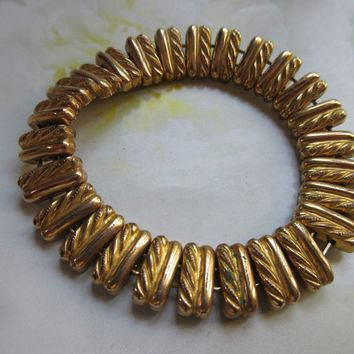 Vintage Circa 1930 Repousse Bracelet in Gold Fill