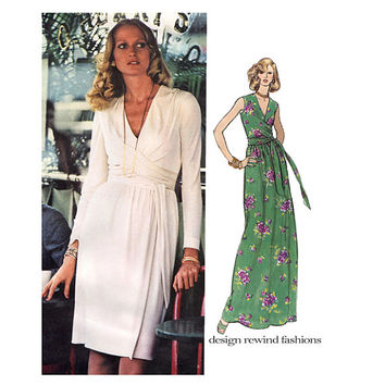 1970s VOGUE DRESS Pattern Maxi Evening Gown Cocktail Dress Bill Blass Designer Vogue 1015 Americana Bust 34 Vintage Womens Sewing Patterns