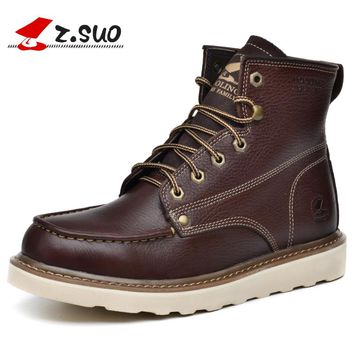 Winter Warm Snow Boots Men Natural Leather Motorcycle Ankle Boots Fashion Waterproof Male Casual Clearance