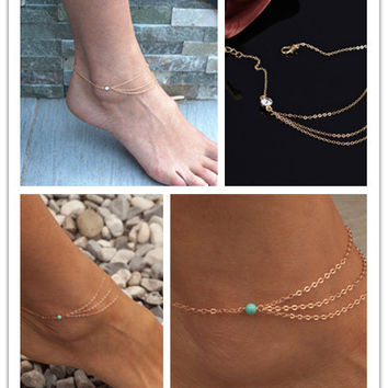 New Arrival Jewelry Sexy Gift Cute Shiny Stylish Rhinestone Tassels Chain Ladies Simple Design Beach Accessory Anklet [6048759361]