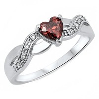 Paiva: 0.6ct Heart-cut Simulated Red Garnet and IOF CZ Infinity Promise Ring Silver, 3222A