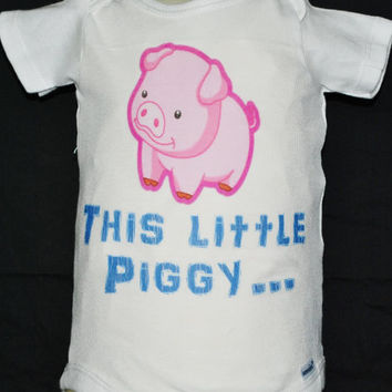 """Baby Onsie, Toddler  Tee, Free Shipping,  """"Little Piggy"""", White, Baby, Toddler, Graphic Design, Baby Shower, Baby Gift, Unisex, Pink Pig"""