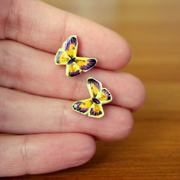 Purple and Yellow Butterfly Earrings, Painted Butterfly Titanium Earrings, Delicate Insect Jewelry