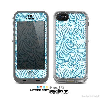 The Abstract Blue & White Waves Skin for the Apple iPhone 5c LifeProof Case