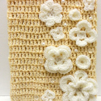Wedding iPad Case- crochet flowers- pearls - iPad 1 2 3 - crochet case