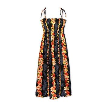 Dream Black Maxi Hawaiian Smocked Sundress