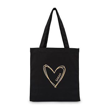 Personalized Heart Black Canvas Tote Bag Tote Bag with Gussets (Pack of 1)