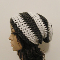 LazyDay Slouch Beanie  Gray and White Stripes