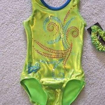 NWT GK Elite Gabby Gabrielle Lime Green Pink Blue Gymnastics Leotard Child Small