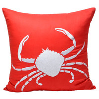 "Beach Crab Pillow Cover, White Crab on Orange Decorative Pillow Cover, Nautical Throw Pillow 18"" x 18"", Orange Cushion"