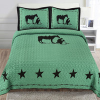 Praying Cowboy Horse Star Western Brown Quilt Bedspread - Turquoise