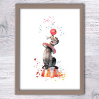 Seal with a ball, Madagascar animal, Funny animal art, Circus animal, Kids room, Nursery décor, Comic Poster, Baby shower gift, Party, V68