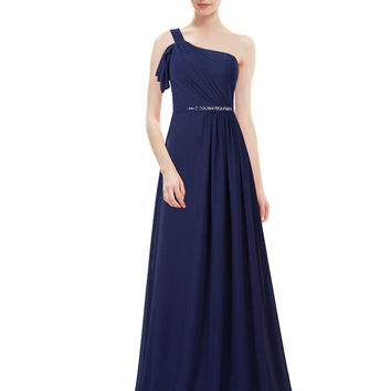 Navy Sequined Waist Maxi Dress