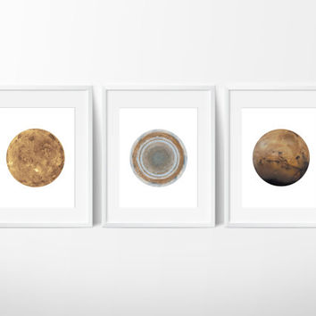 Set of 3 Planet Prints / Mars Print / Jupiter Print / Venus Print / Space Prints / Space Art / Planet Art / Galaxy Prints / Up to 13x19