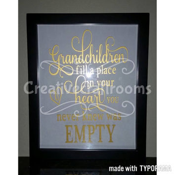 Grandchildren floating glass frame, Grandparents, Grand kids, Grand babies, Quote, Grandparent gift, Wall decor, Frame, Mother's day gift