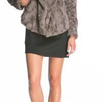BB Dakota Jada Faux Fur Jacket for Women in Grey BF42666