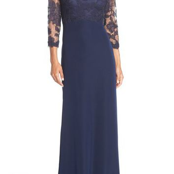 Tadashi Shoji Embroidered Lace Gown (Regular & Petite) | Nordstrom