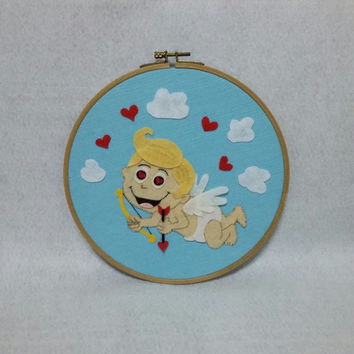 Cupid wall decor, Valentines wall art, Valentines day Gift, Gift for her, Hoop art, Embroidery hoop art, Valentines wall decor