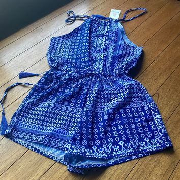 OOPS GIRL Women's Blue & White Print Romper, Size Medium