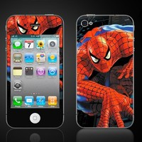 iPhone 4 Spiderman Vinyl Skin kit fits 4th generation apple iPhone decal cover Skins case.