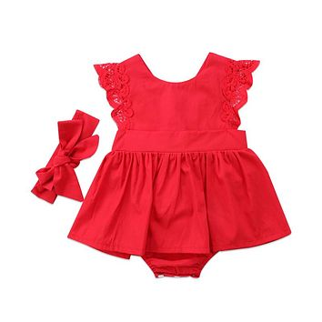 Christmas Baby Girls Red Lace Backless Dresses