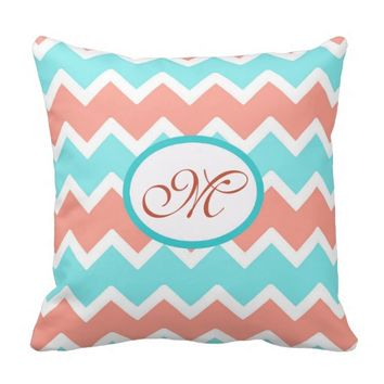 Personalized Monogram Aqua Coral Chevron Pillow