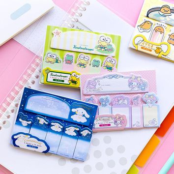 90 Pages /Pack Cute Frog Dog Kitty Gudetama Melody Kuromi Twin Stars Sticky Notes Memo Pads School Office Supply Stationery