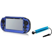 Everydaysource® Compatible With Sony PlayStation Vita Blue Aluminum / Plastic Case AND FREE Blue Stylus