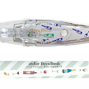 Wine Champagne Pattern Atelier Series Deco Rush PLUS Japan Decoration Tape With Applicator Pen