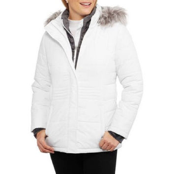 Free Tech Women's Heavyweight Puffer Coat With Faux Fur Trim, XL 16-18, White