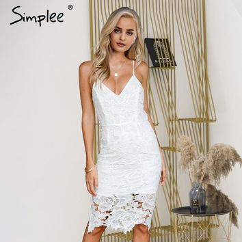 Simplee Backless sexy lace dress women V neck bodycon dress midi Streetwear white strap summer dress female vestidos 2018