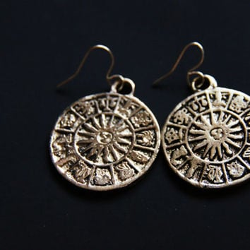 Zodiac Jewelry Set - Mayan Calendar Sun Dial - Astrology Astrological Horoscope - Round Jewellery - Silver Pirate Coin Necklace Earrings