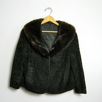 50s womens coat / black fur jacket / persian lamb jacket
