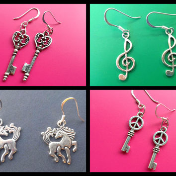 Heart Key earrings Music Note earrings Unicorn earrings Peace Sign earrings Treble Clef Earrings Unicorns Mythical Creatures