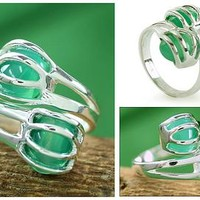 Sterling Silver Wrap Ring Modern Jewelry from India - Green Love Attraction | NOVICA