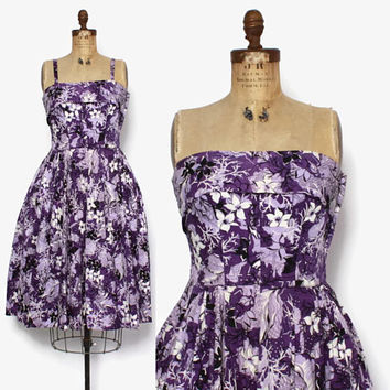 Vintage 50s Hawaiian Print Dress / 1950s Purple Cotton Convertible Strapless Sun Dress M