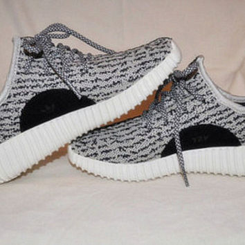"""Adidas"" Women Yeezy Boost Sneakers Running Sports Shoes Grey(black dots)"