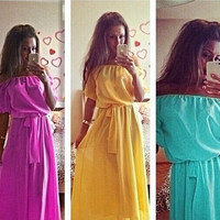 Long Summer Dress Plus Size Women Clothing Long Dress Bohemian Chiffon Women Maxi Dress QAF183 = 1928637444