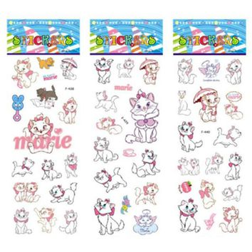 3 sheets/set The Aristocats pattern bubble stickers for kids decor on notebook Marie Cat 3D sticker doodle toy stickers