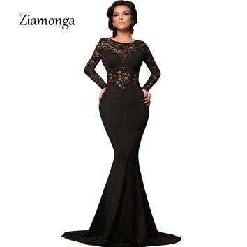 Ziamonga Plus Size Vestidos Women Sexy Evening Party Black Lace Dress Long Sleeve Bodycon Mermaid Dress Elegant Long Maxi Dress