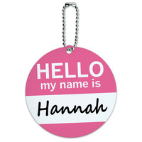 Hannah Hello My Name Is Round ID Card Luggage Tag