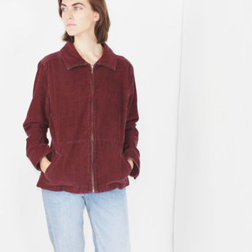 vtg 90s long sleeve shirt marsala corduroy top collared shirt grunge top 90s jumper oversized corduroy jacket MEDIUM LARGE m lrg