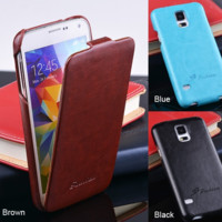 Cellphone Cover Case Skin Flip Design Synthetic Leather Blue Brown for Samsung Galaxy S5