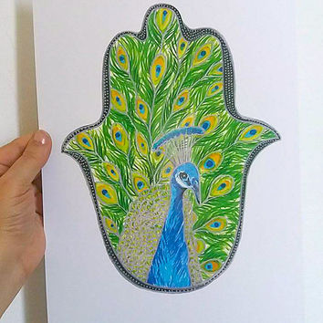 Peacock Art, Peacock Hamsa, Hamsa Hand Art, Hamsa Wall Art,Hamsa Print,Peacock Drawing,Peacock Art Print,Boho Art,Bird Art,Peacock Decor