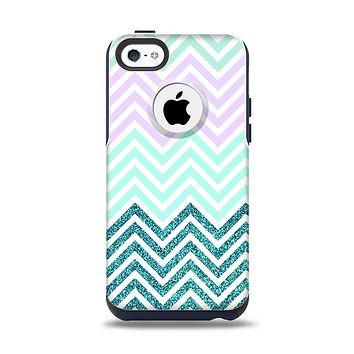 The Light Teal & Purple Sharp Glitter Print Chevron Apple iPhone 5c Otterbox Commuter Case Skin Set