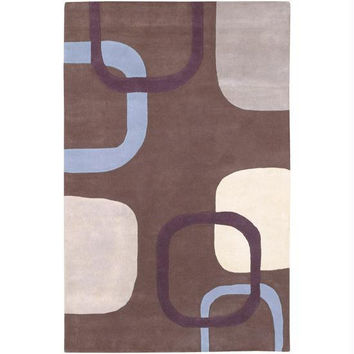 Area Rug - 3.25' X 5.25' - Colors Include Brown, Raisin Purple,foggy Blue,antique White And Parchment Yellow